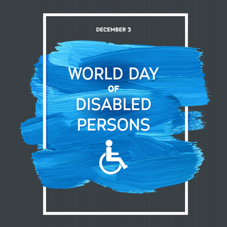 stroke: World Disability Day Typography Watercolor Brush Stroke Design , vector illustration. Blue Grunge Effect Important Day Poster Illustration