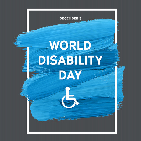 disabled person: World Disability Day Typography Watercolor Brush Stroke Design , vector illustration. Blue Grunge Effect Important Day Poster Illustration