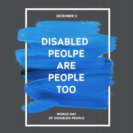personas discapacitadas: D�a Mundial de la Discapacidad de la tipograf�a de la acuarela del cepillo Dise�o Trazo, ilustraci�n vectorial. Grunge azul Efecto P�ster D�a Importante
