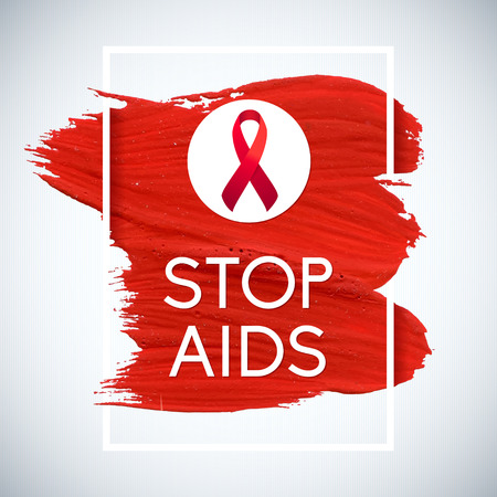aids symbol: World Aids Day concept with text and red ribbon of aids awareness. 1st December. Red brush stroke poster