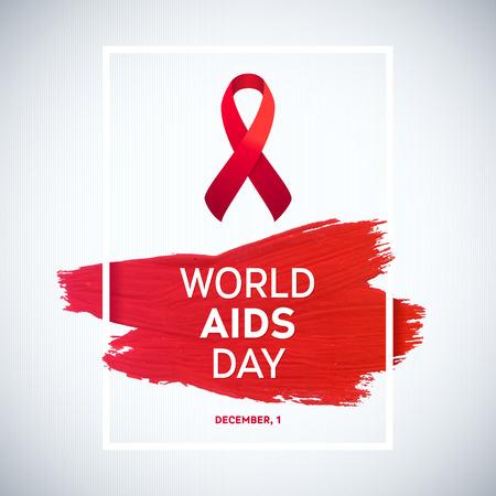 relaciones sexuales: Concepto Día Mundial del Sida con el texto y la cinta roja de la conciencia del SIDA. 1 de diciembre. Cepillo rojo cartel accidente cerebrovascular Vectores