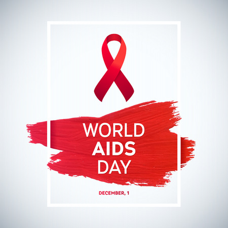 december: World Aids Day concept with text and red ribbon of aids awareness. 1st December. Red brush stroke poster