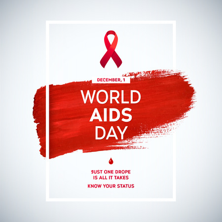 hiv: World Aids Day concept with text and red ribbon of aids awareness. 1st December. Red brush stroke poster