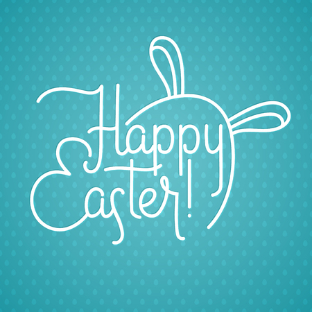 Happy Easter Greeting Calligraphy Egg and Bunny Ears Card.