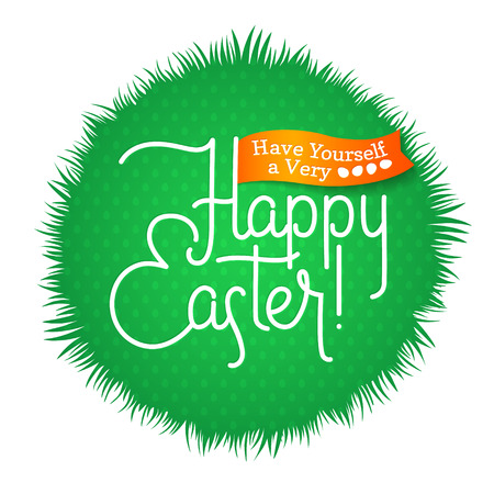 godness: Happy Easter Greeting Calligraphy Spring Grass Card. Illustration