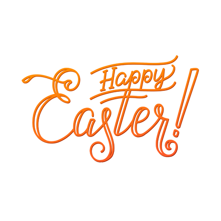 godness: Happy Easter Greeting Calligraphy Greeting Card White Background.