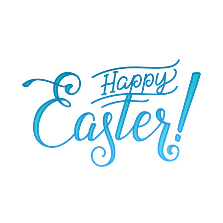 hunts: Happy Easter Greeting Calligraphy Greeting Card White Background.