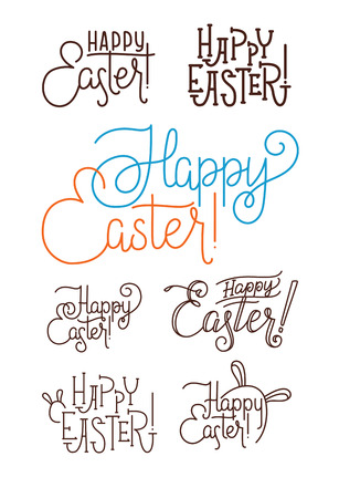 caligraphy: Happy Easter Greeting Calligraphy Hand Lettering Set