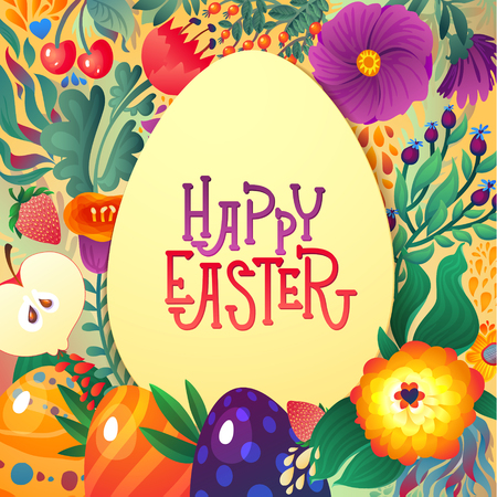 Happy Easter Greeting Card. Floral and Berry banner  Festive background. Decorative Happy Holiday Illustration for print, poster and web