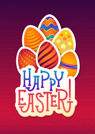 Easter Greeting Card. Egg banner Inscription. Festive background. Decorative illustration for print, web. Illustration