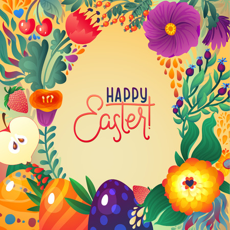 happy web: Happy Easter Greeting Card. Floral and Berry banner Festive background. Decorative Happy Holiday Illustration for print, web,