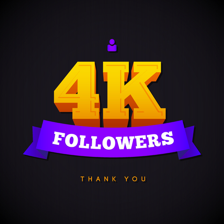 Thank you 4000 followers card. Vector thanks design template for network friends and followers. Image for Social Networks. Web user celebrates a large number of subscribers or followers.