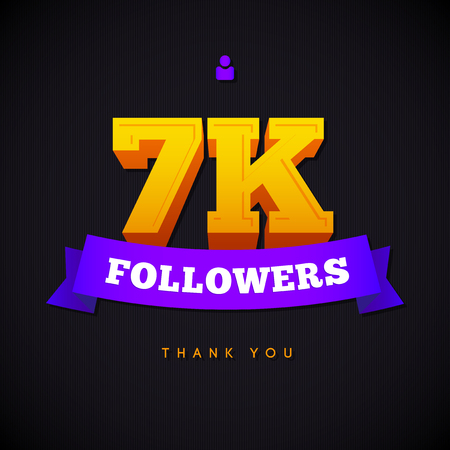 network card: Thank you 7000 followers card. Vector thanks design template for network friends and followers. Image for Social Networks. Web user celebrates a large number of subscribers or followers.
