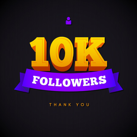 followers: Thank you 10000 followers card. Vector thanks design template for network friends and followers. Image for Social Networks. Web user celebrates a large number of subscribers or followers.