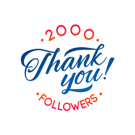 thousands: Thank you 2000 followers card. Vector thanks design template for network friends and followers. Image for Social Networks. Web user celebrates a large number of subscribers or followers Illustration