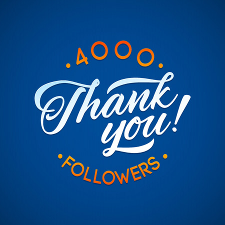 followers: Thank you 4000 followers card. Vector thanks design template for network friends and followers. Image for Social Networks. Web user celebrates a large number of subscribers or followers Illustration