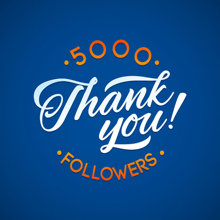 Thank you 5000 followers card. Vector thanks design template for network friends and followers. Image for Social Networks. Web user celebrates a large number of subscribers or followers