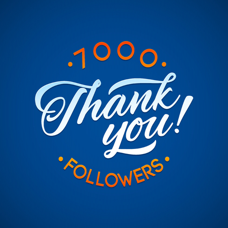 network card: Thank you 7000 followers card. Vector thanks design template for network friends and followers. Image for Social Networks. Web user celebrates a large number of subscribers or followers Illustration