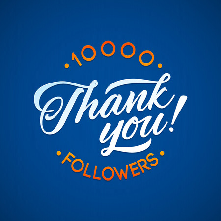 subscriber: Thank you 10 000 followers card. Vector thanks design template for network friends and followers. Image for Social Networks. Web user celebrates a large number of subscribers or followers