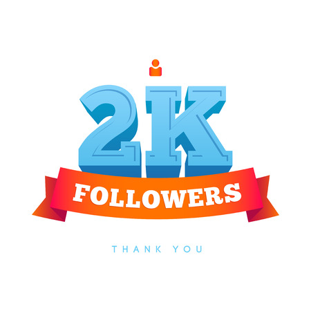 followers: Vector thanks design template for network friends and followers. Thank you 2000 followers card. Image for Social Networks. Web user celebrates a large number of subscribers or followers. Illustration