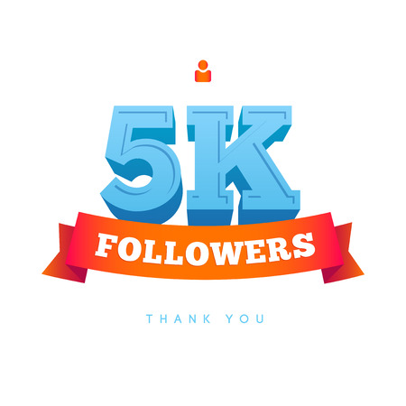 follow us: Vector thanks design template for network friends and followers. Thank you 5000 followers card. Image for Social Networks. Web user celebrates a large number of subscribers or followers.