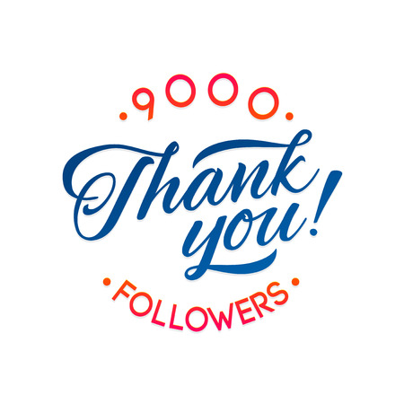 follower: Thank you 9000 followers card. Vector thanks design template for network friends and followers. Image for Social Networks. Web user celebrates a large number of subscribers or followers Illustration