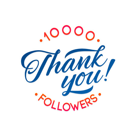 subscriber: Thank you 10000 followers card. Vector thanks design template for network friends and followers. Image for Social Networks. Web user celebrates a large number of subscribers or followers
