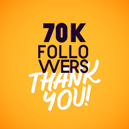 social web: Vector thanks design template for network friends and followers. Thank you card. Image for Social Networks. Web user celebrates a large number of subscribers or followers.