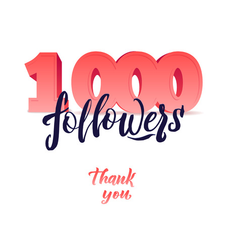 thanks design template for network friends and followers. Thank you card. Image for Social Networks. Web user celebrates a large number of subscribers or followers. Illustration