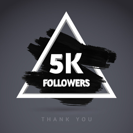 Vector Brush Stroke design template for network friends and followers. Thank you 5 K followers card. Image for Social Networks. Web user celebrates a large number of subscribers or followers.