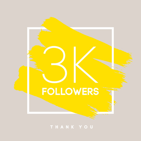 social web: Vector thanks design template for network friends and followers. Thank you 3 K followers card. Image for Social Networks. Web user celebrates large number of subscribers or followers.