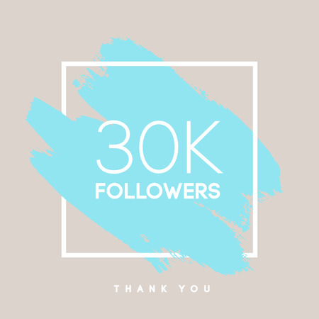 network card: Vector thanks design template for network friends and followers. Thank you 30 K followers card. Image for Social Networks. Web user celebrates large number of subscribers or followers. Illustration