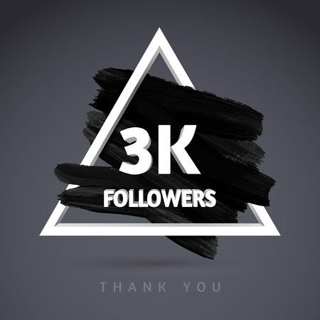 subscriber: Vector Brush Stroke design template for network friends and followers. Thank you 3 K followers card. Image for Social Networks. Web user celebrates a large number of subscribers or followers.
