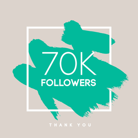 follow us: Vector thanks design template for network friends and followers. Thank you 70  K followers card. Image for Social Networks. Web user celebrates large number of subscribers or followers.