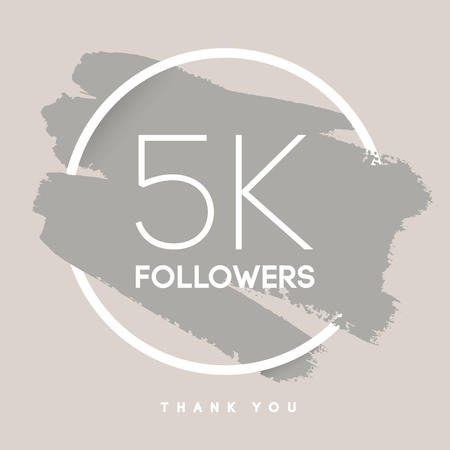 network card: Vector thanks design template for network friends and followers. Thank you 5 K followers card. Image for Social Networks. Web user celebrates large number of subscribers or followers.