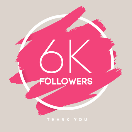 network card: Vector thanks design template for network friends and followers. Thank you 6 K followers card. Image for Social Networks. Web user celebrates large number of subscribers or followers.