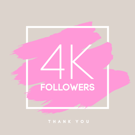 network card: Vector thanks design template for network friends and followers. Thank you  4 K followers card. Image for Social Networks. Web user celebrates large number of subscribers or followers. Illustration