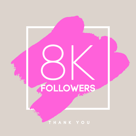 paint splash: Vector thanks design template for network friends and followers. Thank you 8 K followers card. Image for Social Networks. Web user celebrates large number of subscribers or followers.
