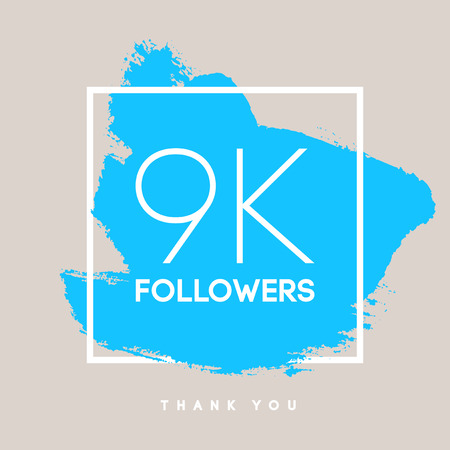 k 9: Vector thanks design template for network friends and followers. Thank you 9 K followers card. Image for Social Networks. Web user celebrates large number of subscribers or followers.