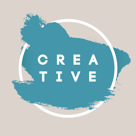 Kreativ. Typografie Hintergrund. Vector Brush Stroke Vorlage. Zusammenfassung von Hand bemalt Strukturierter Ink Pinsel Hintergrund mit geometrischer Runde Feld