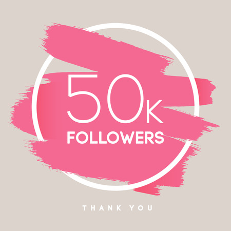publisher: Vector thanks design template for network friends and followers. Thank you 50 K followers card. Image for Social Networks. Web user celebrates large number of subscribers or followers.