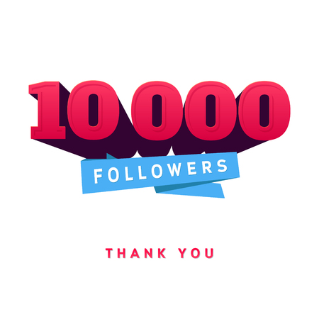 Vector thanks design template for network friends and followers. Thank you 10 000 followers card. Image for Social Networks. Web user celebrates a large number of subscribers or followers.