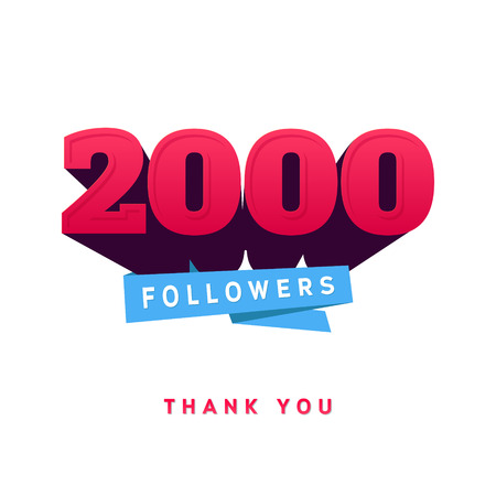 tweet icon: Vector thanks design template for network friends and followers. Thank you 2000 followers card. Image for Social Networks. Web user celebrates a large number of subscribers or followers. Illustration