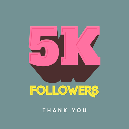 subscriber: Vector thanks design template for network friends and followers. Thank you 5000 followers card. Image for Social Networks. Web user celebrates a large number of subscribers or followers.