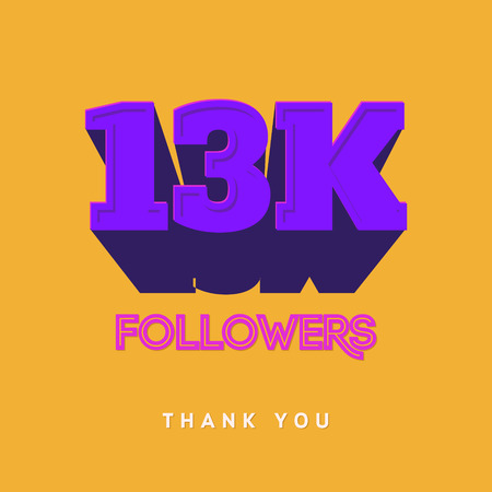 Vector thanks design template for network friends and followers. Thank you 13 000 followers card. Image for Social Networks. Web user celebrates a large number of subscribers or followers Illustration