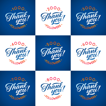 popularity popular: Vector thanks design template SET for network friends and followers. Thank you followers card. Image for Social Networks. Web user celebrates a large number of subscribers or followers