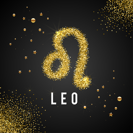 destiny: Zodiac Sign Gold Tinsel, scattered on black background. Gold circles and stars and patches of light. Golden Glitter Particle. Trendy Gold Glitter Texture. Horoscope predicts your destiny. Illustration
