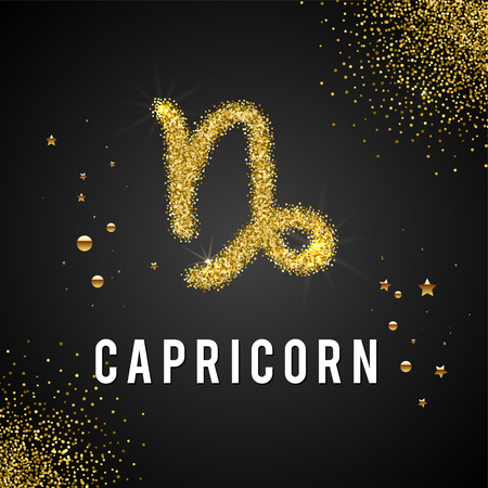 prognosis: Zodiac Sign Gold Tinsel, scattered on black background. Gold circles and stars and patches of light. Golden Glitter Particle. Trendy Gold Glitter Texture. Horoscope predicts your destiny. Illustration