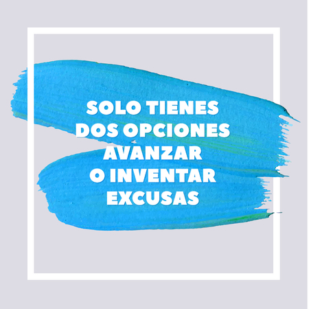 Spanish Motivation Motivation Blue Square Acrylic Stroke Poster. Text lettering of an inspirational saying. Quote Typographical Poster Template, vector design. Ilustração