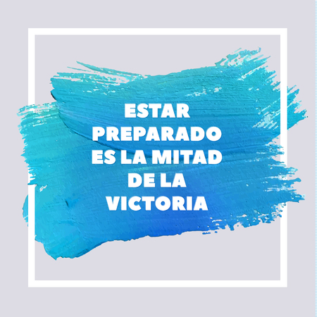 turquise: Spanish Motivation Motivation Blue Square Acrylic Stroke Poster. Text lettering of an inspirational saying. Quote Typographical Poster Template, vector design. Illustration